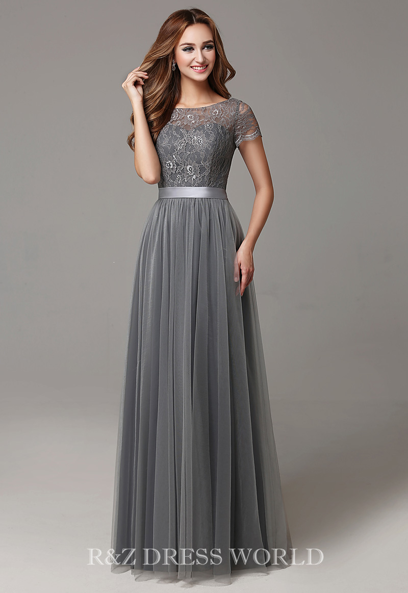 Grey lace prom dress