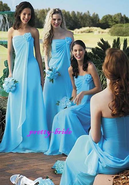 Turquoise Chiffon Evening Ball Gown Party Prom Bridesmaid Dress