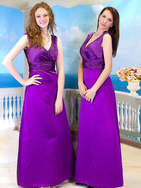 Purple Satin Formal Long Ball Gown Party Prom Bridesmaid dress