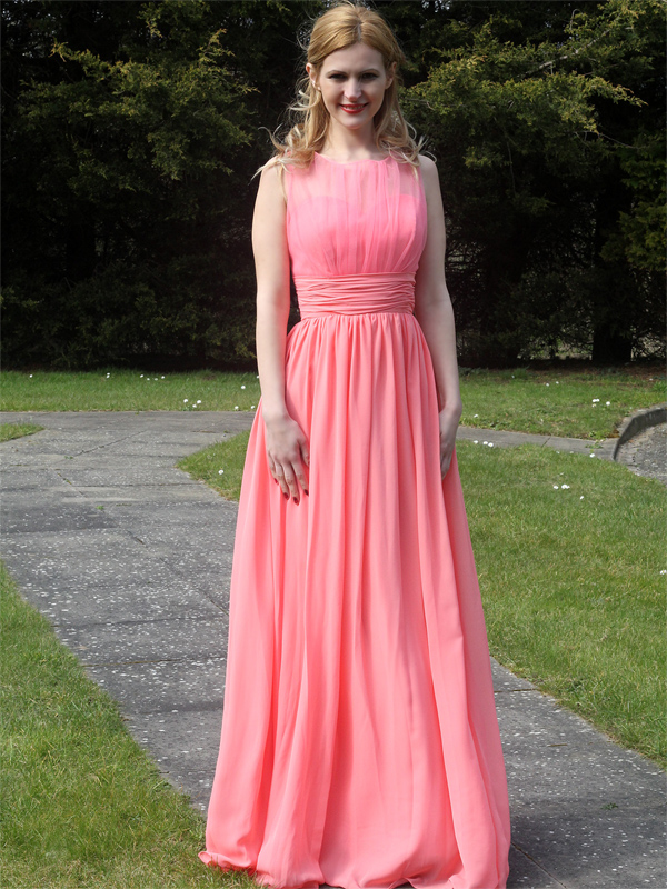 Coral Chiffon Bridesmaid Dress illusions neckline style:6718
