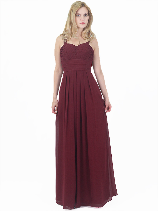 Burgundy Chiffon Bridesmaid Evening Party Prom Dress