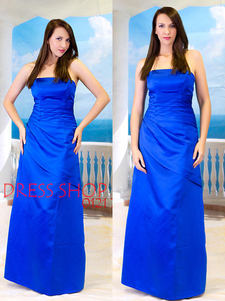 Royal blue Satin Formal Long Gown Party Prom Bridesmaid dress