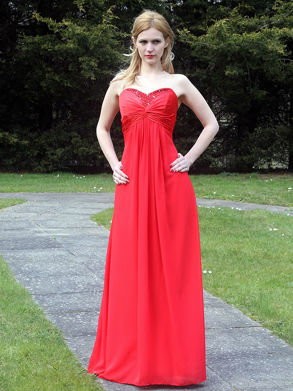 Red chiffon bridesmaid dress with beading