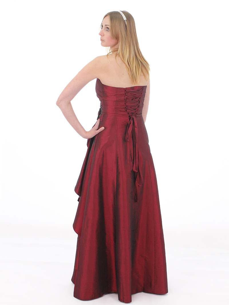 Burgundy Taffeta Bridesmaid Evening Party Prom Gown Dress Lace u