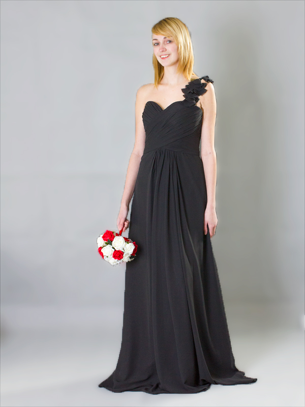 One should with flower chiffon Bridesmaids Dress