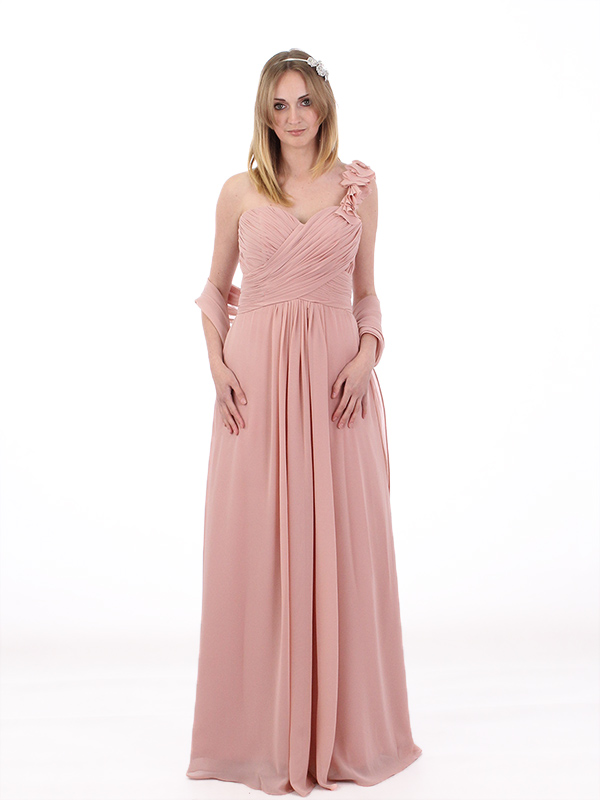 One Shoulder With Flower Bridesmaids Evening Party Prom Dress