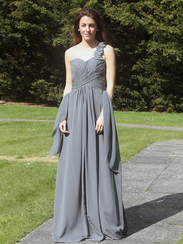 Grey chiffon one shoulder bridesmaid dress/evening dress 6720