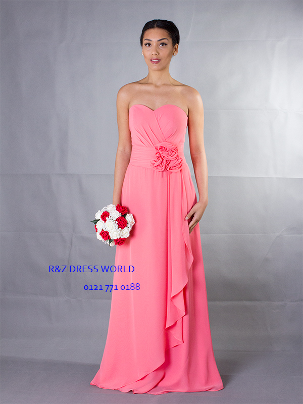Coral chiffon Bridesmaid Evening Party Prom Dress