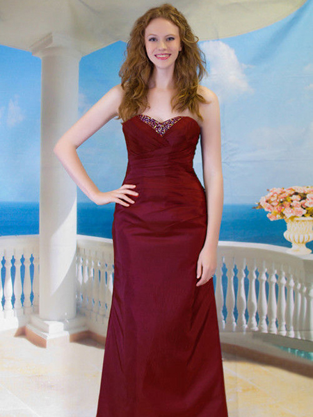 Burgundy Taffeta Evening Ball Gown Party Prom Bridesmaid Dress