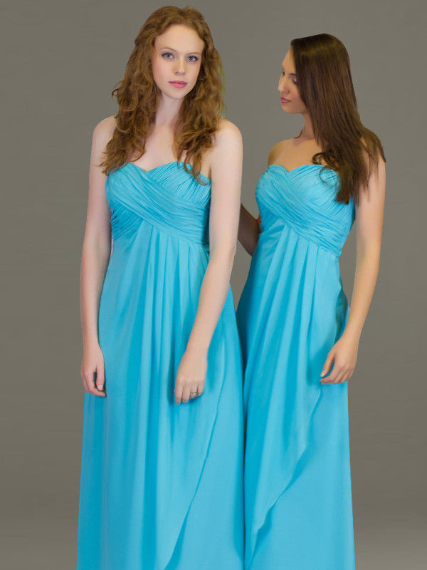 Turquoise Chiffon Evening Gown Party Prom Bridesmaids dress