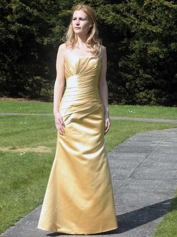 Gold satin bridesmaids dress fit and flare style 8304