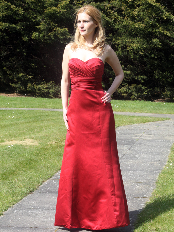 Red Satin Formal Long Ball Gown Party Prom Bridesmaid dress