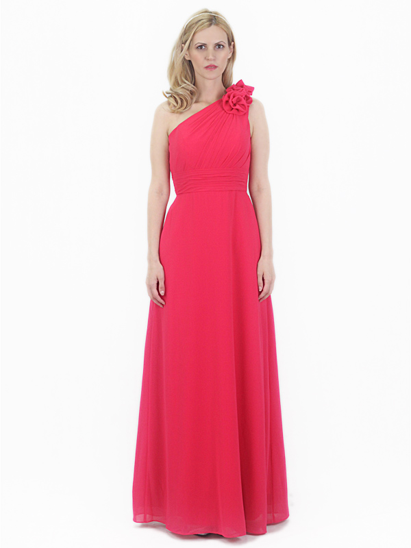 Red Chiffon Bridesmaid Evening Party Prom Dress One shoulder