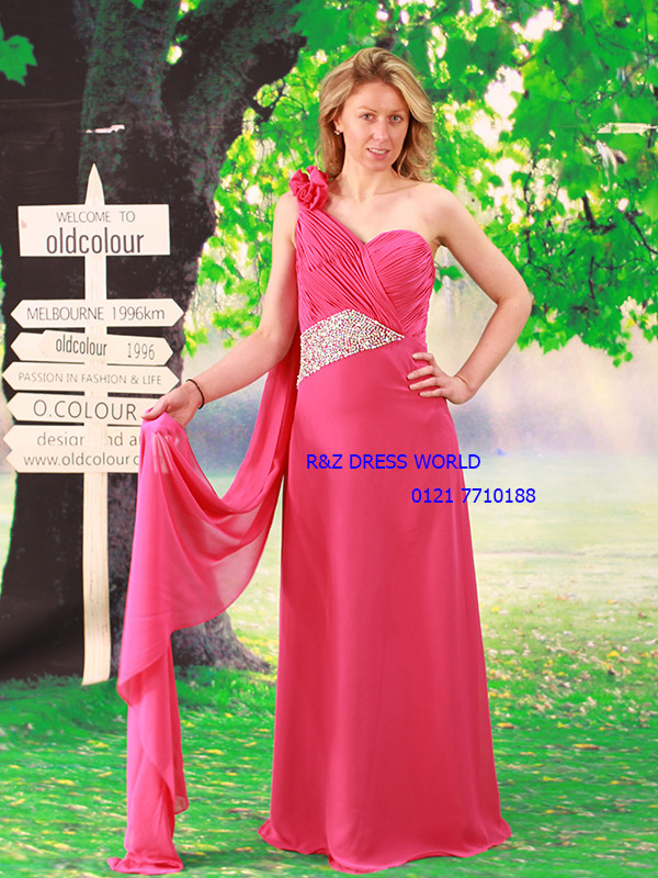 Hot pink chiffon bridesmaid dress evening prom dress one shoulde