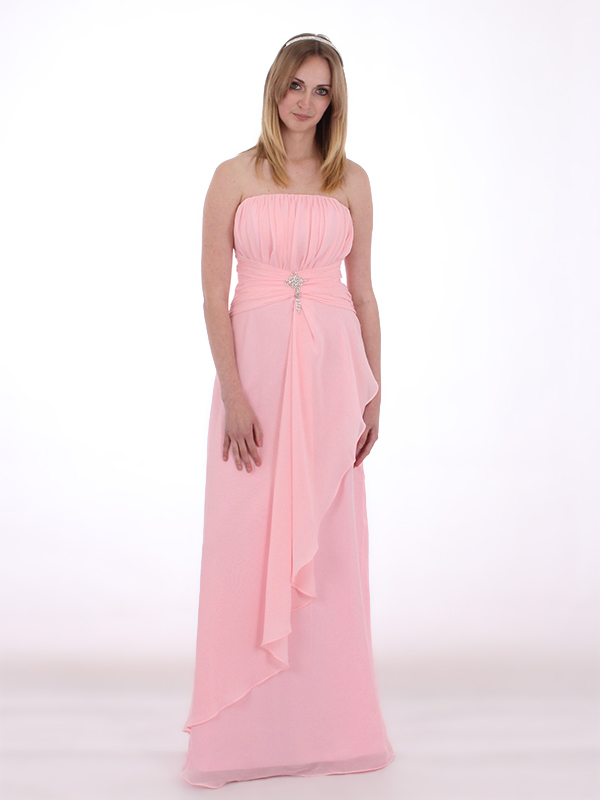 Baby pink strapless chiffon bridesmaids dress with brooch