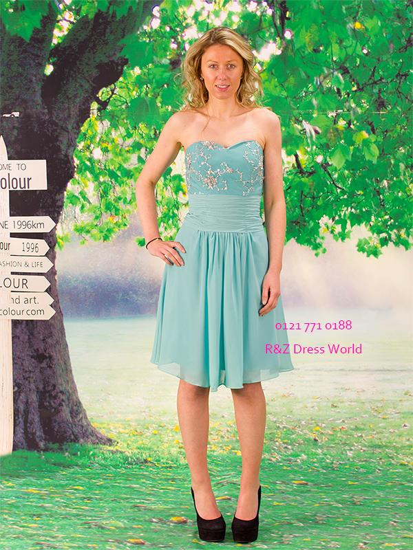 Turquoise chiffon prom dress strapless bridesmaid evening dress