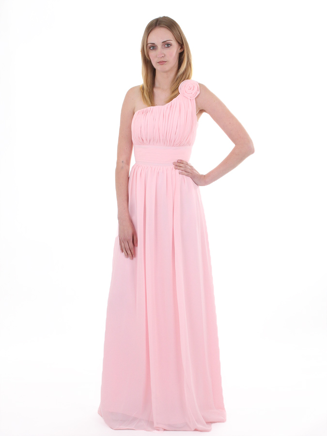 One Shoulder Bridesmaids Dress With Flower