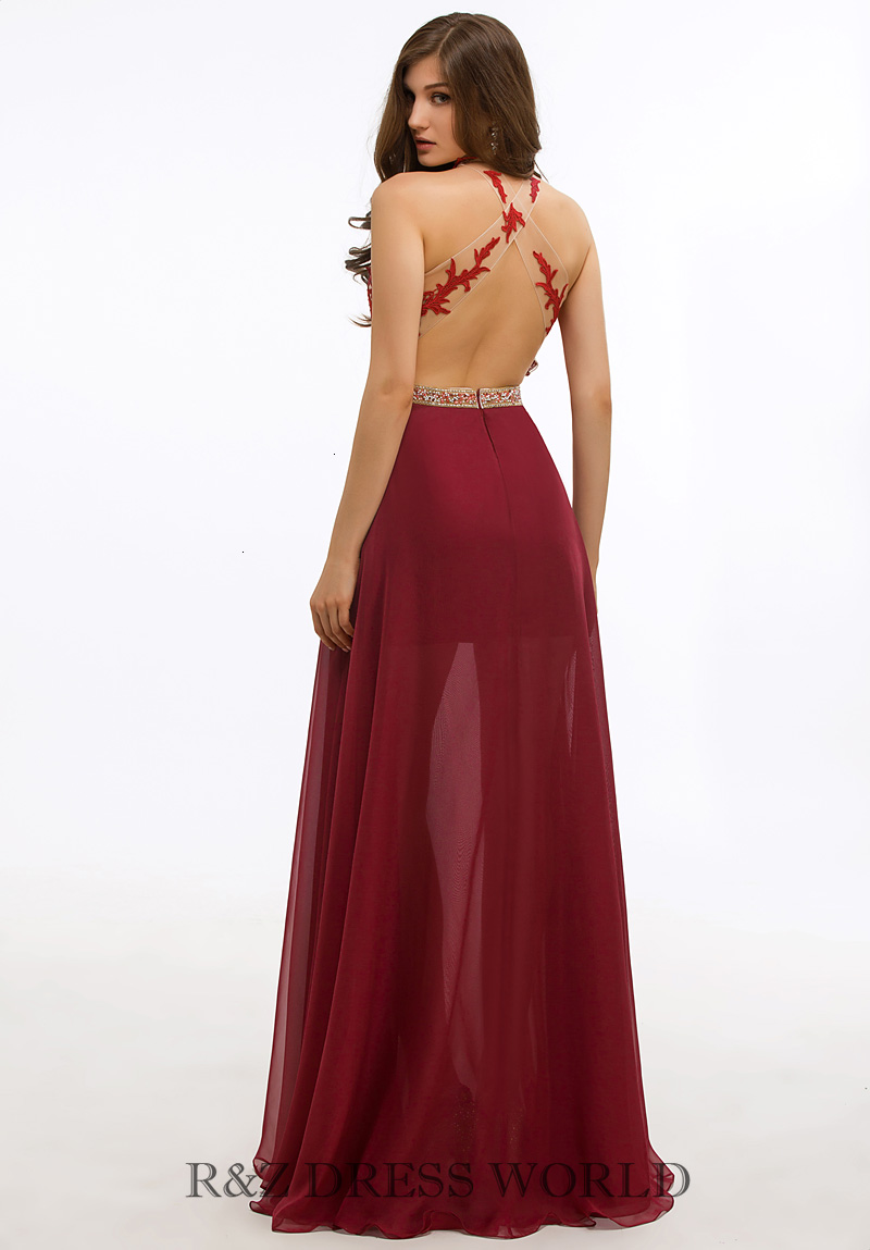 Burgundy lace applique halterneck dress