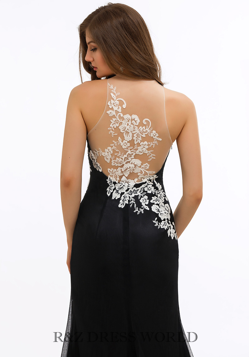 Black chiffon dress with ivory lace applique