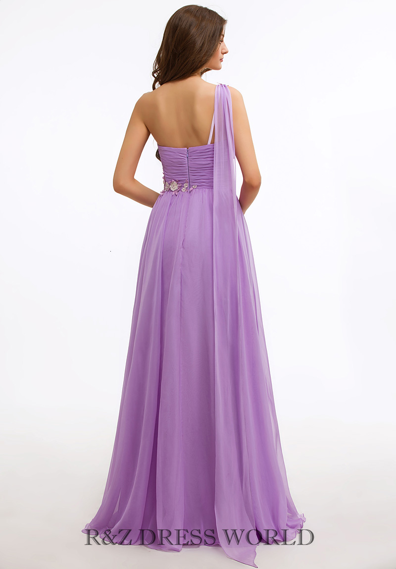 Lilac one shoulder prom dress