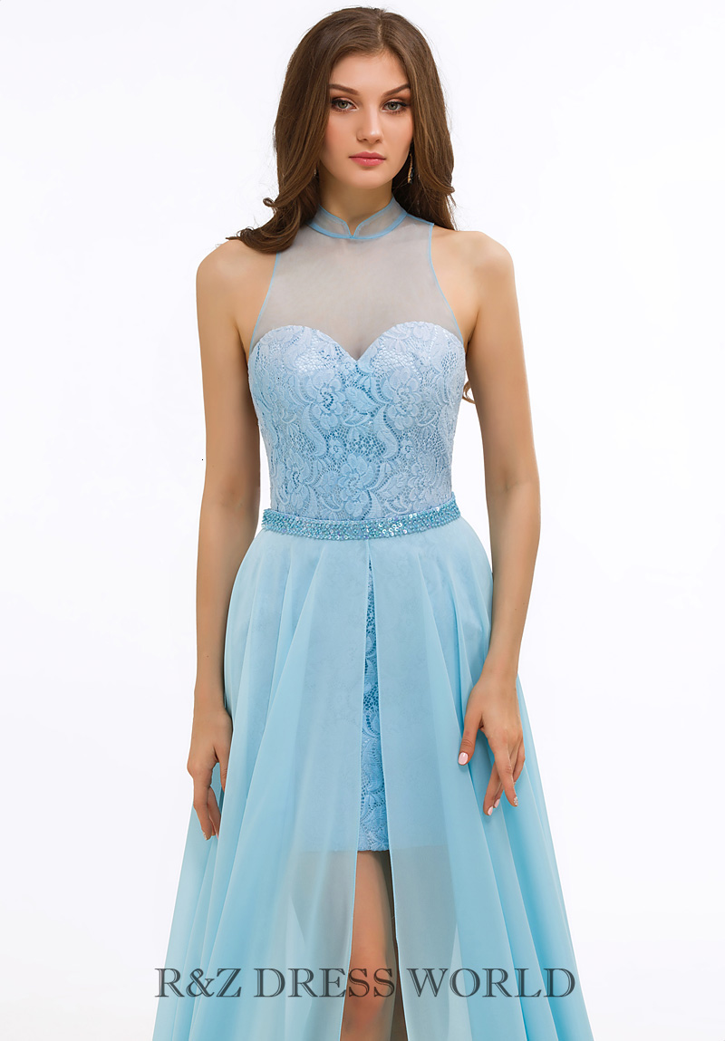 Baby blue dress short-long skirt - Click Image to Close