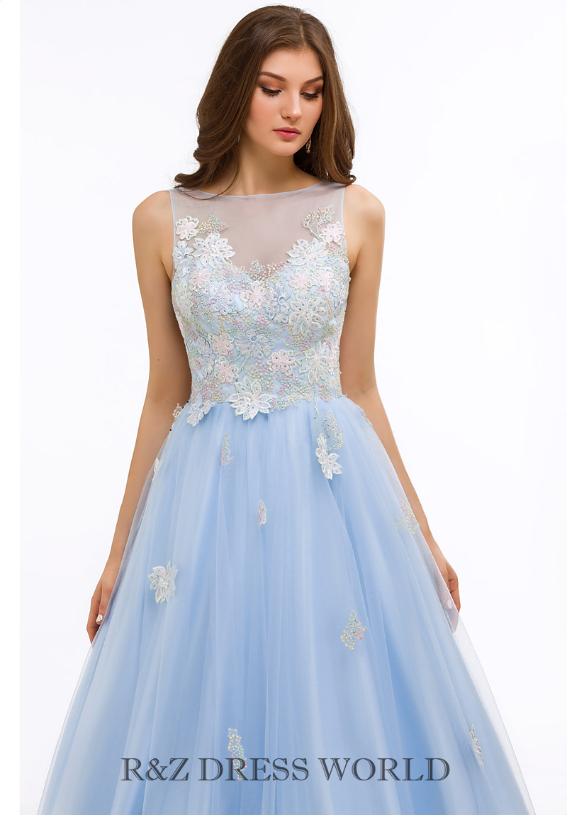 Baby blue lace applique dress