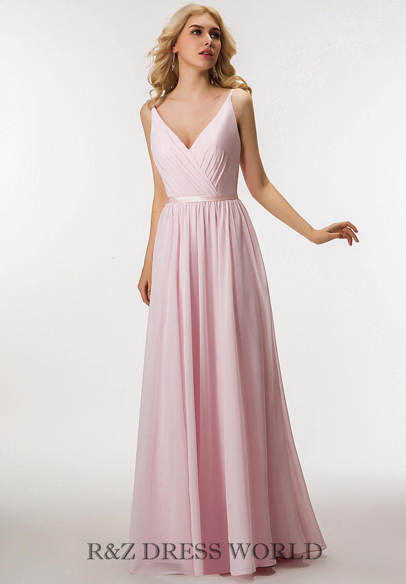 Baby pink chiffon dress with V neckline
