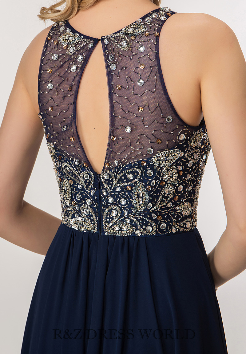 Navy chiffon dress with beading bodice - Click Image to Close