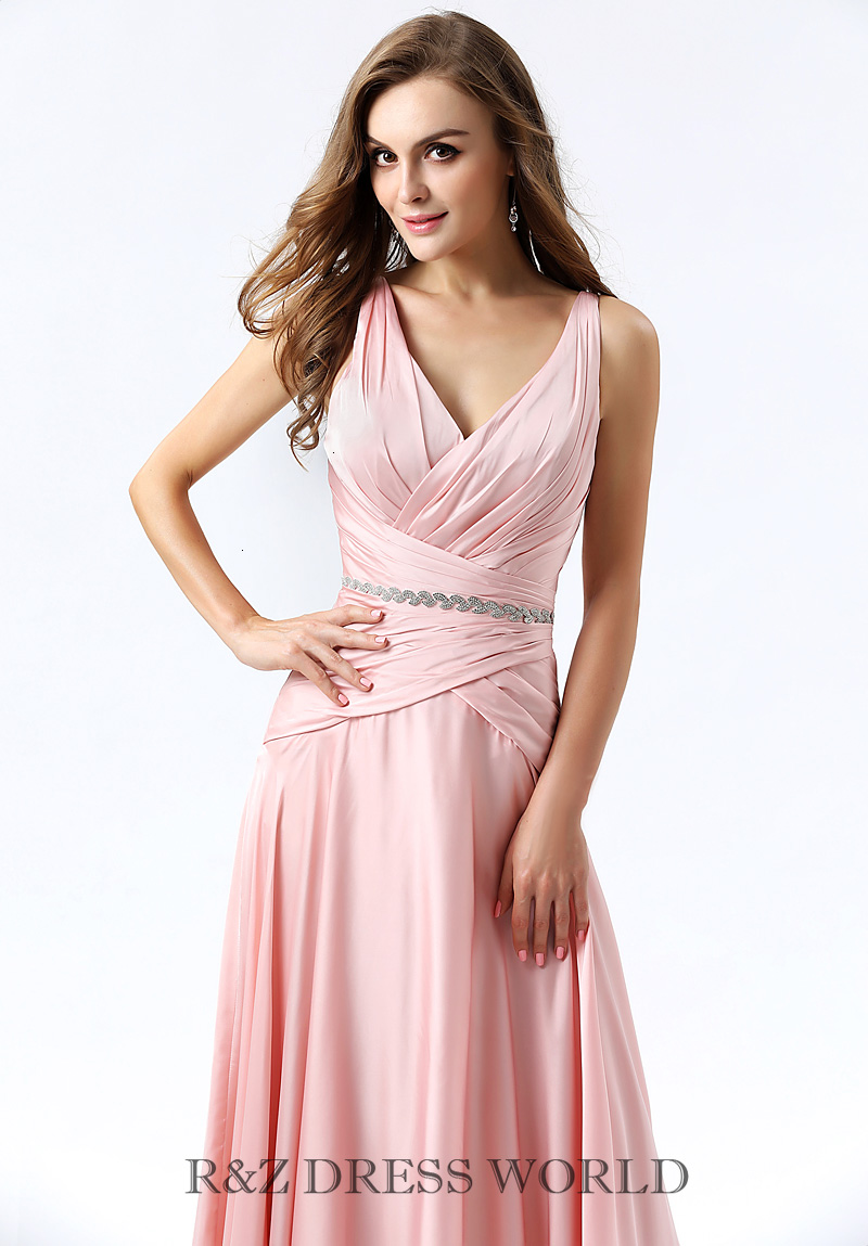 Baby pink high shinny satin dress with beading waistband