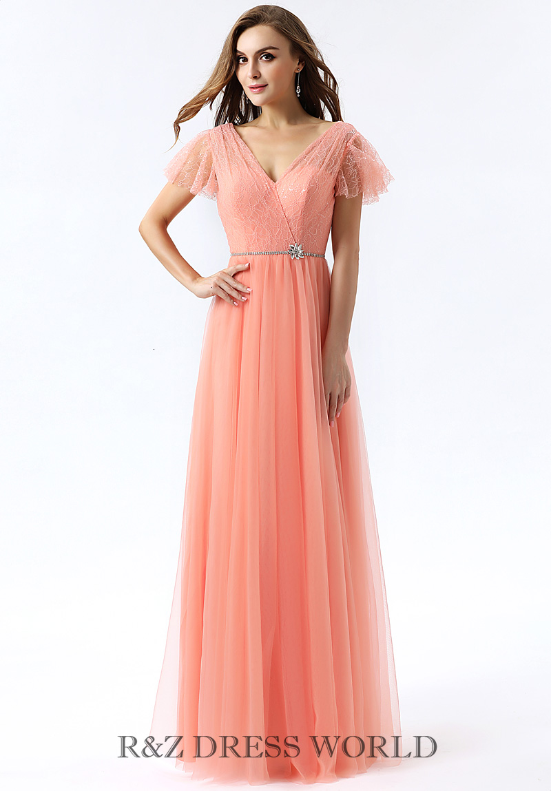 Coral dress with ruffled sleeve