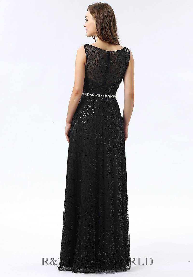 Black soft lace prom dress