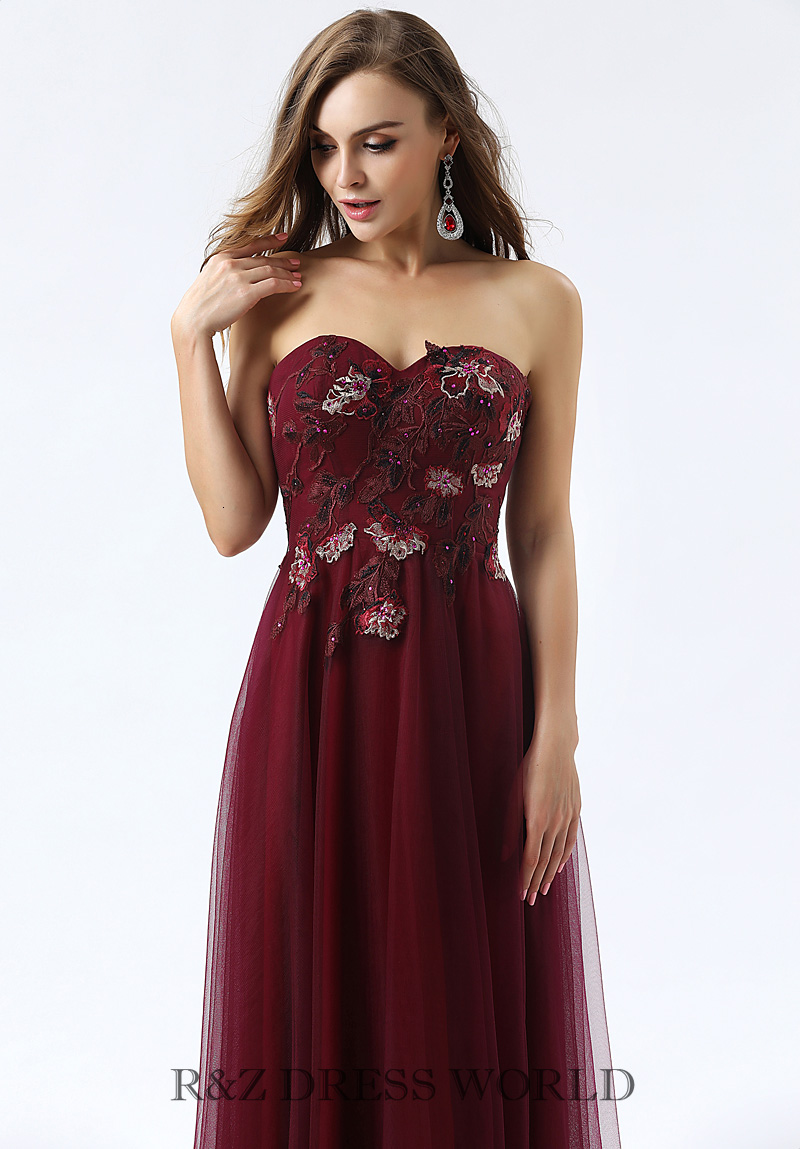 Burgundy embroidery lace A line dress