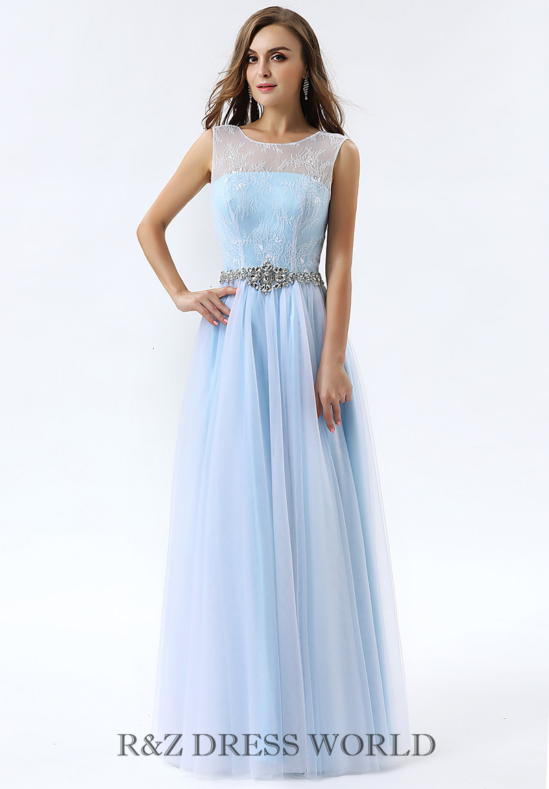 Baby blue prom dress with soft lace top