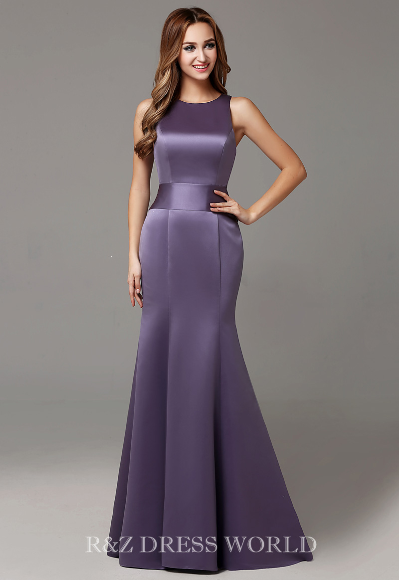 Dark lavender satin fishtail dress