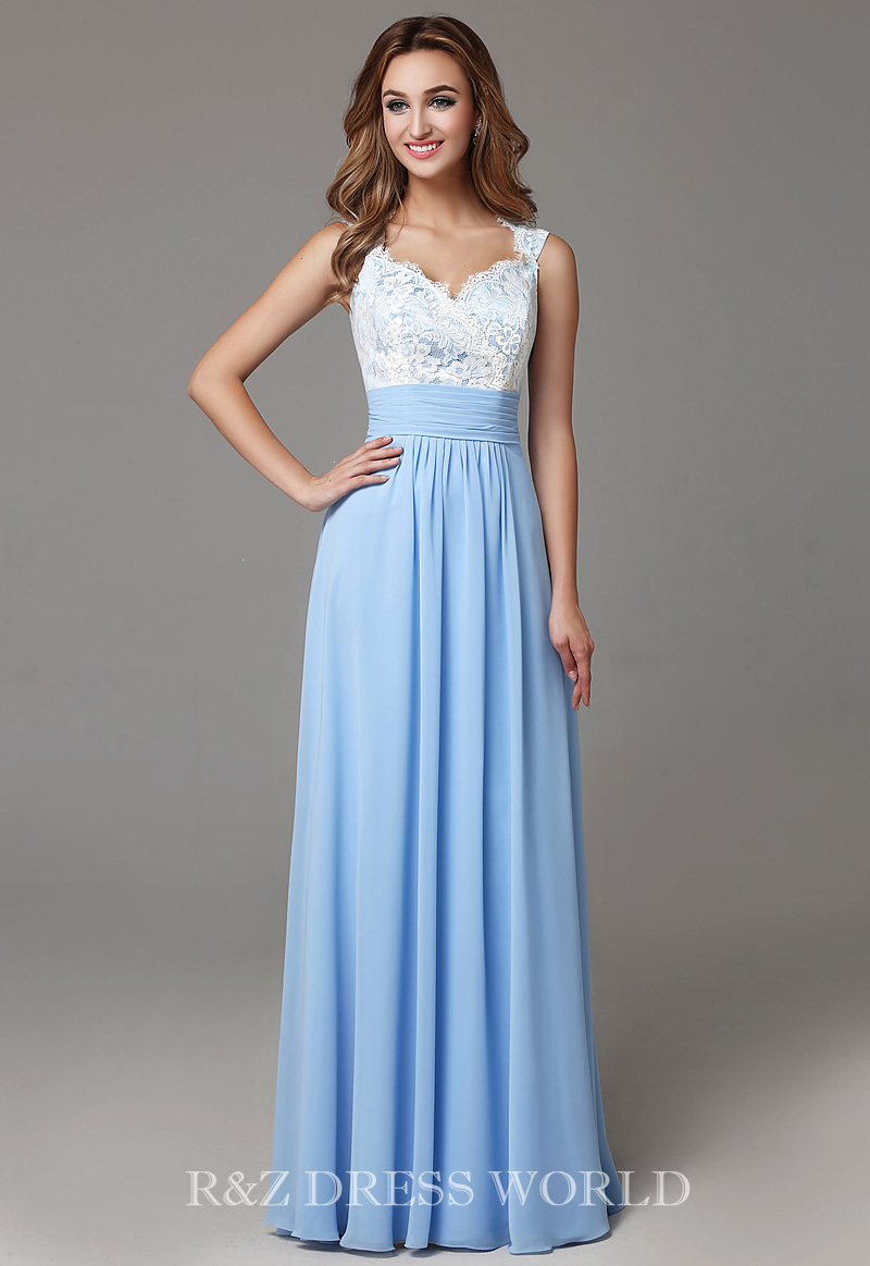 Ivory lace top with sky blue chiffon skirt