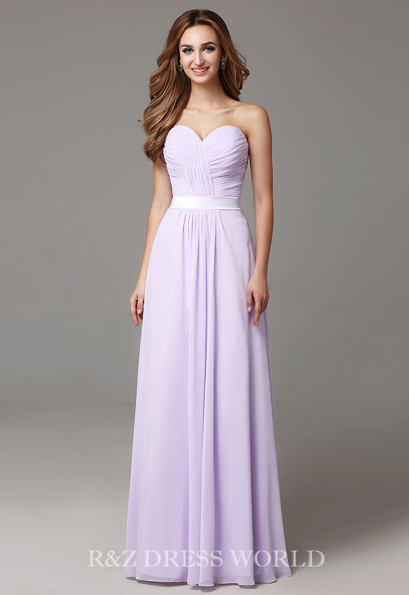 Lilac sweet heart chiffond dress with ivory band