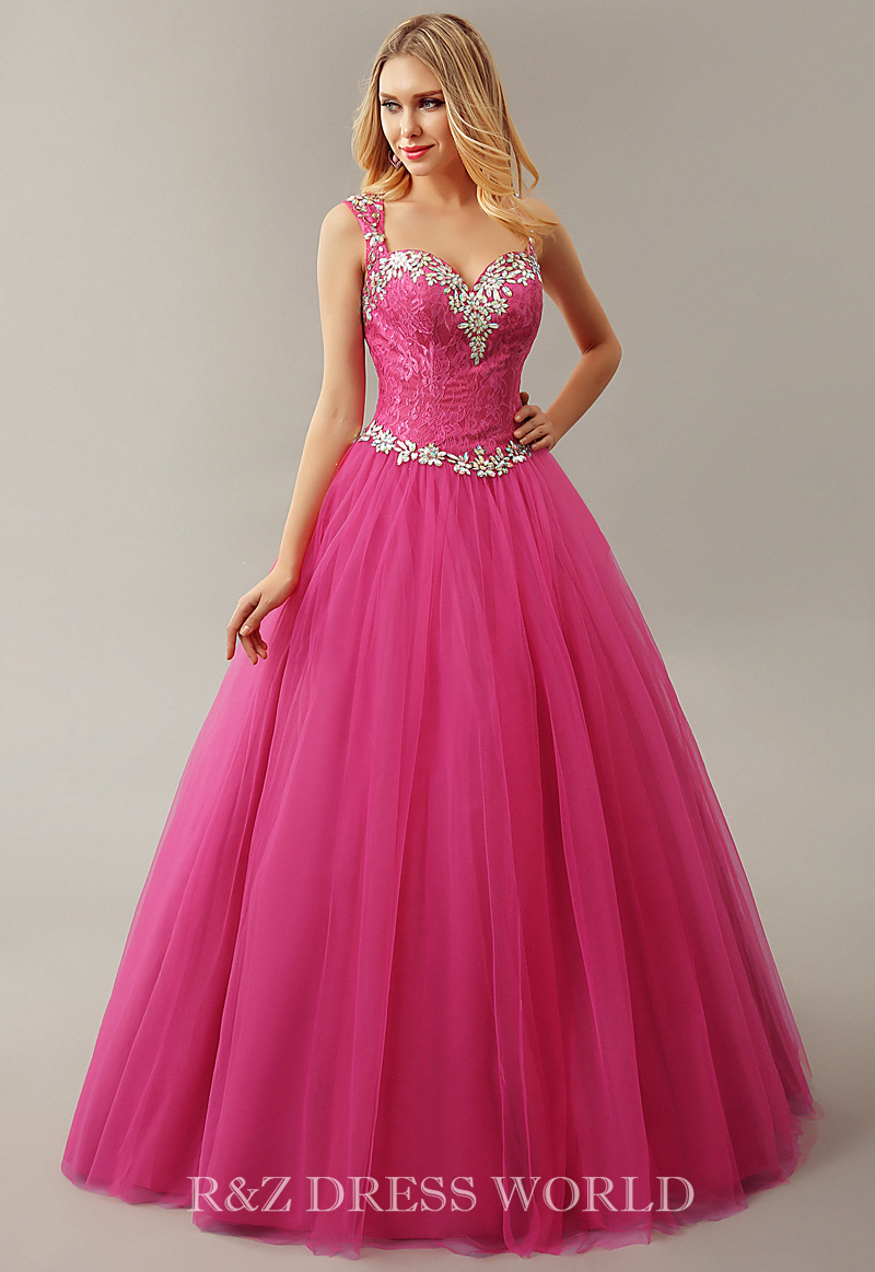 Hot pink dress with beaded neckline