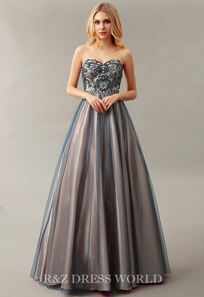 Dark blue and champagne dress with A line skirt